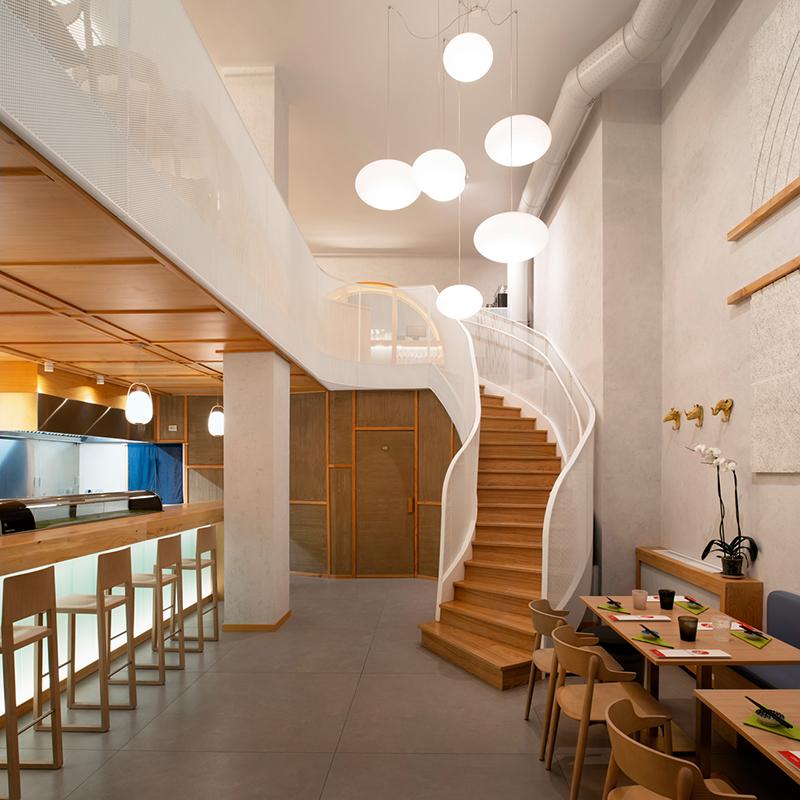 Miyabi_Japanese_restaurant_Arch_Davide_Beretta_Studio_1 Perforated metal sheet stair