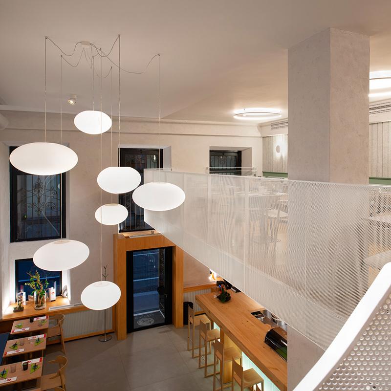 Miyabi_Japanese_restaurant_Arch_Davide_Beretta_Studio_10 ufo lights metal sheet perforated stair